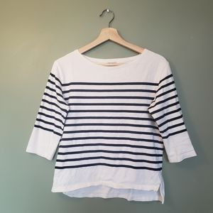 Black and White Striped Mid-sleeve Top